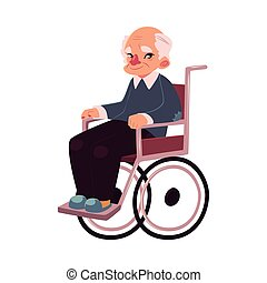 Portrait of happy old man sitting in wheelchair, cartoon...