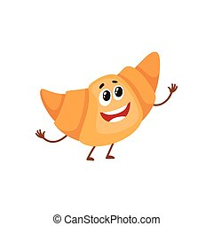 Funny croissant, bread roll character, cartoon style vector...