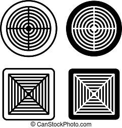 ventilation grille black symbol - illustration for the web
