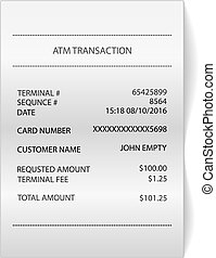 atm transaction printed paper receipt bill - illustration...