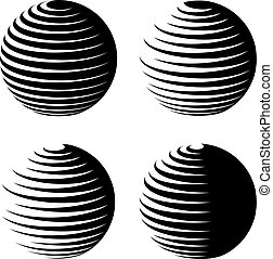 rotating sphere speed lines symbol - illustration for the...