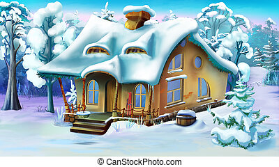 Fairy Tale House  on the Edge of a Forest in Winter Day