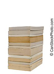 Stack of paperback books isolated on white with copyspace