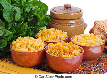 Pasta Varieties - Selection of pasta varieties with lettuce...