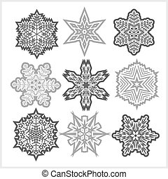 Set of snowflakes vector icons on white