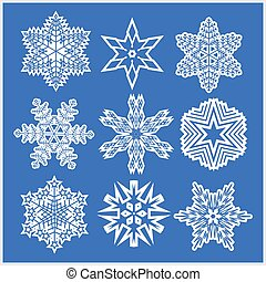 Set of snowflakes vector icons on blue