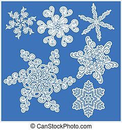 Set of snowflakes icons on blue