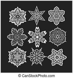 Set of snowflakes icons - Set of snowflakes vector icons on...