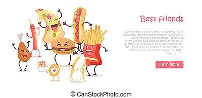 Best Friends, Food Banner - Best friends, food banner. Happy...