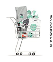 Household Appliances in Trolley Flat Style. Vector -...
