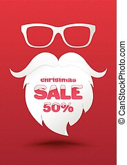 Christmas Sale Poster Template. Use for Holidays promotion advertising. Vector illustration.