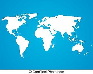 azul, mapa, silueta, simplificado, Plano de fondo, mundo, blanco