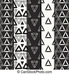 Set of geometric line monochrome abstract hipster seamless...