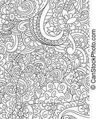 Pattern flower coloring vector for adults - Pattern flower...