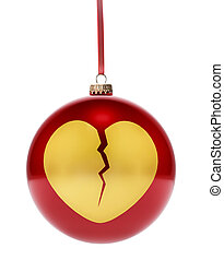 Red bauble with the golden shape of a broken heart.(series)