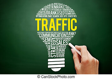 TRAFFIC bulb word cloud collage, business concept on...