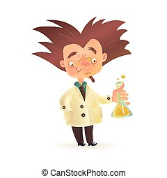 Bushy haired mad professor in lab coat holding chemical...
