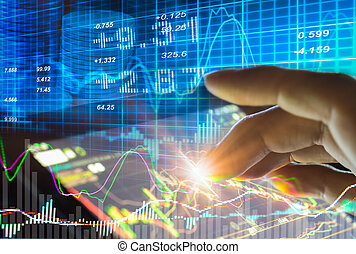 Graph of stock market data and financial with the view from...