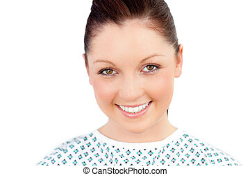 Portrait of a merry female patient smiling at the camera