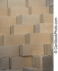 Square stone blocks built in pyramid - Close up of square...