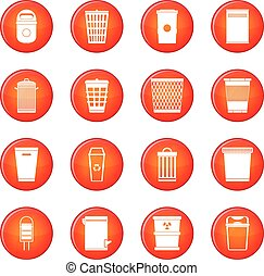 Trash can icons vector set of red circles isolated on white...