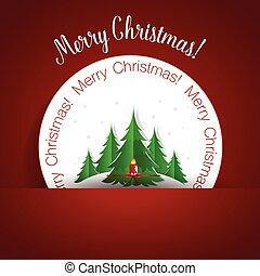 Christmas Greeting Card with Christmas tree. Vector...