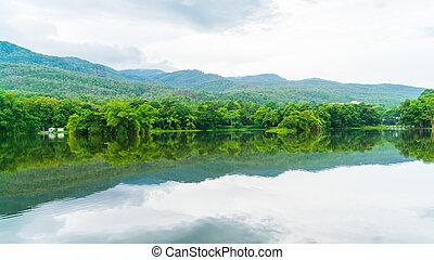Beautiful green park with lake , Ang Kaew at Chiang Mai...