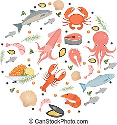 Seafood icons set in round shape, flat style. Sea food collection isolated on white background. Fish products, marine meal design element. Vector illustration.