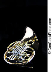 French Horn Isolated On Black - A gold brass French Horn...