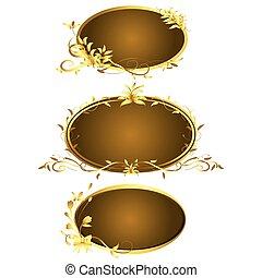 Golden vintage frames design elegant