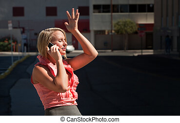 Pretty girl has ah-ha moment talking on cell phone - Pretty...