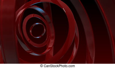 loopable abstract background with red rotating rings HD...