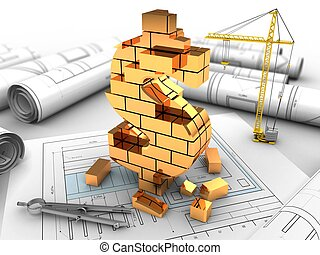 3d illustration of  over drawing rolls background with crane