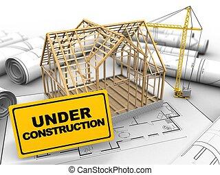 madeira, casa, Quadro,  3D
