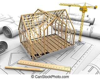 3d wooden house frame