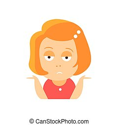 Little Red Head Girl In Red Dress Upset Flat Cartoon...