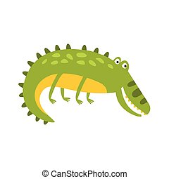 Crocodile Laying On The Side Flat Cartoon Green Friendly Reptile Animal Character Drawing