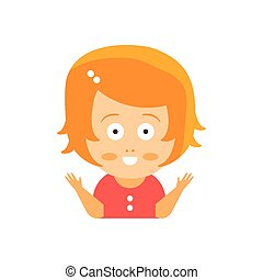 Little Red Head Girl In Red Dress Excited Smiling Flat Cartoon Character Portrait Emoji Vector Illustration