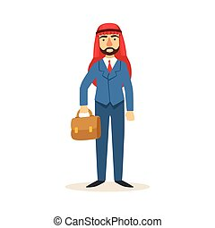 Arabic Muslim Businessman Dressed In Expensive Suit And Wearing Headdress Kufiya Working In Financial Business Sphere With Suitcase