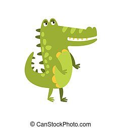 Crocodile Walking On Two Legs Flat Cartoon Green Friendly Reptile Animal Character Drawing