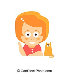 Little Red Head Girl In Red Dress Waving And Smiling Sitting With Her Cat Flat Cartoon Character Portrait Emoji Vector Illustration