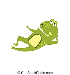 Frog Laying Down Preaching Flat Cartoon Green Friendly...