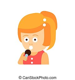 Little Red Head Girl In Red Dress With Microphone Flat Cartoon Character Portrait Emoji Vector Illustration