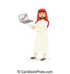 Arabic Muslim Businessman Dressed In Traditional Thwab...