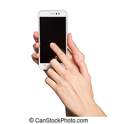 Woman holding smartphone in her hands. Finger touching black display. Isolated on white background.