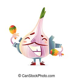 Garlic character in torero clothes smiling wildly and...