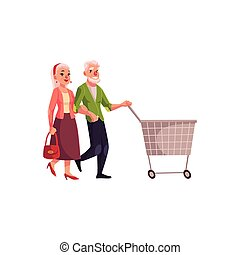 Old, senior, elder couple shopping together