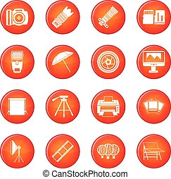 Photo studio icons vector set of red circles isolated on...