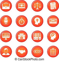 Banking icons vector set of red circles isolated on white...