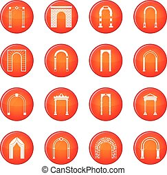 Arch set icons vector set of red circles isolated on white...